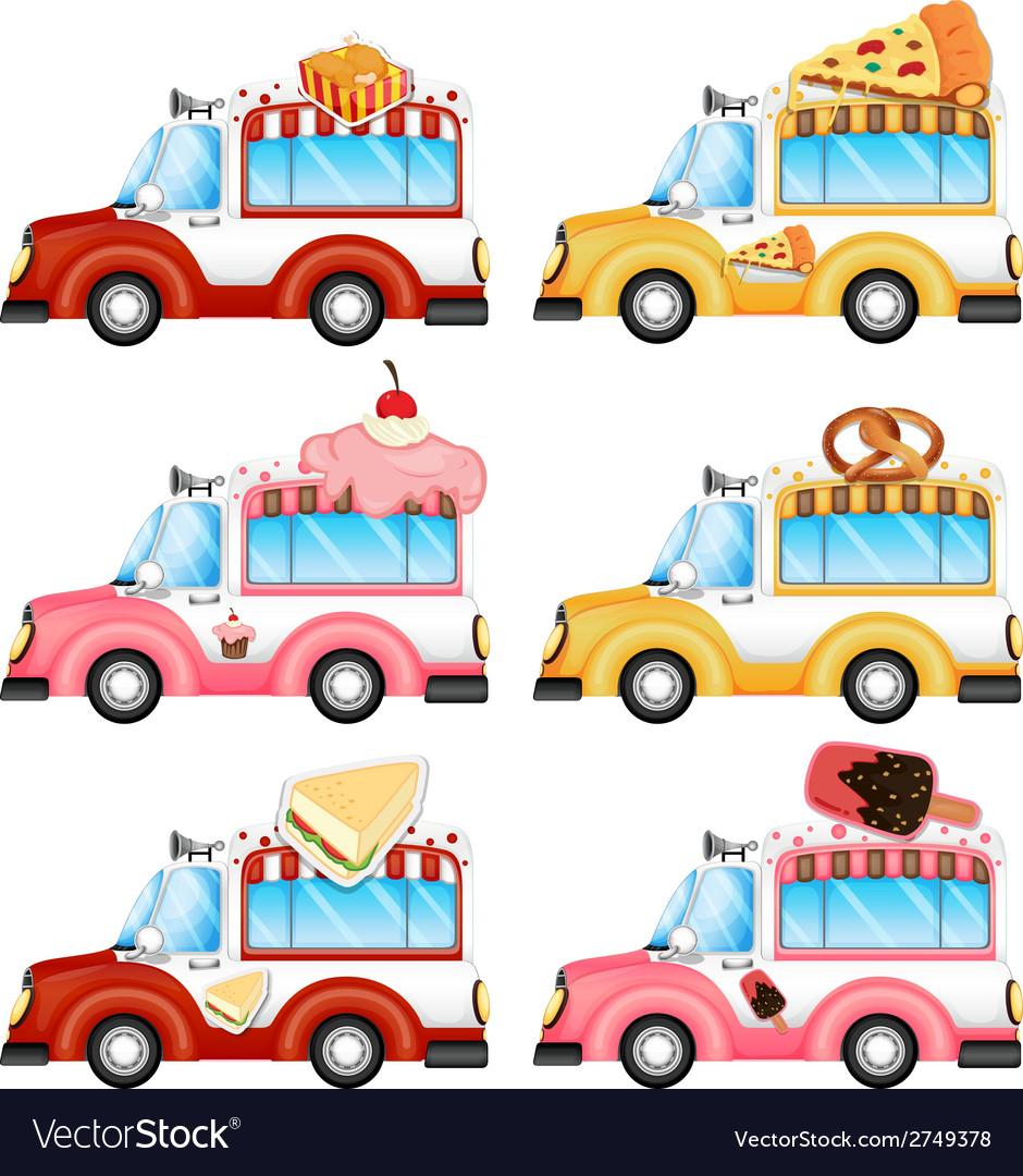 Vans selling foods vector | Price: 1 Credit (USD $1)