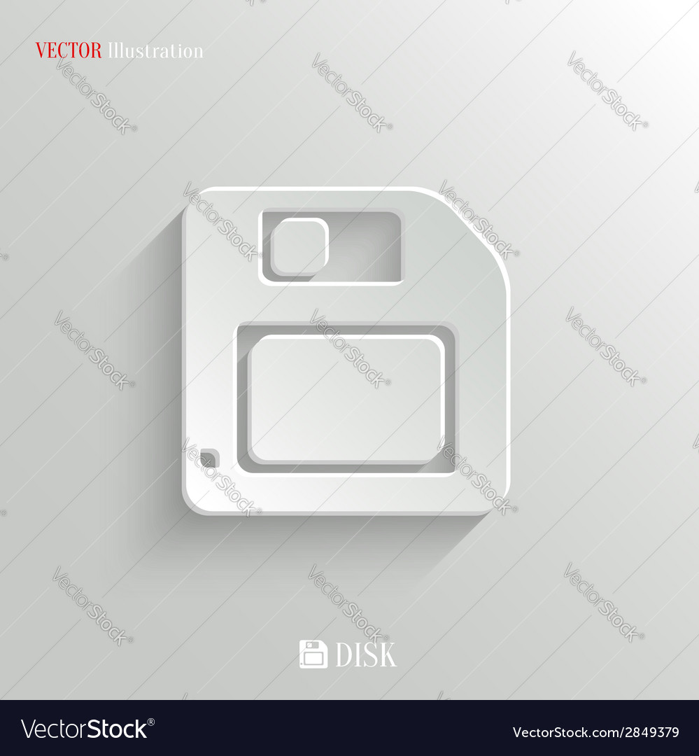 Floppy diskette icon - white app button vector | Price: 1 Credit (USD $1)