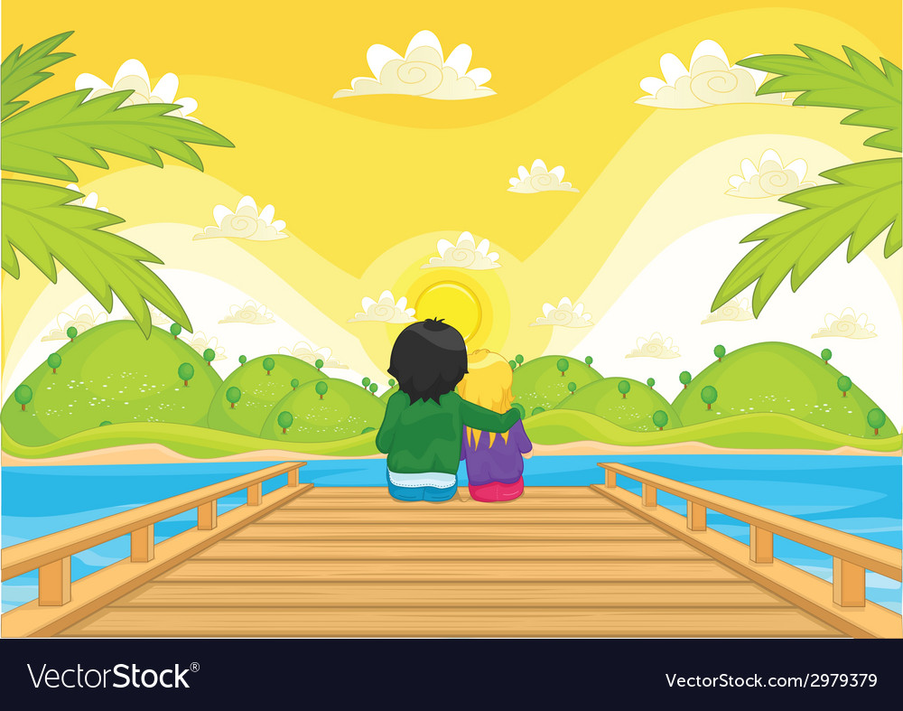 Kids sitting on pier vector | Price: 1 Credit (USD $1)