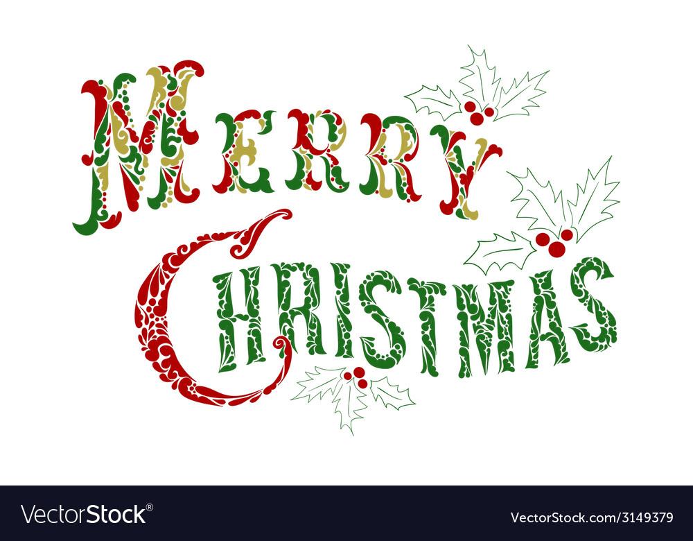 Merry christmas congratulation text vector | Price: 1 Credit (USD $1)
