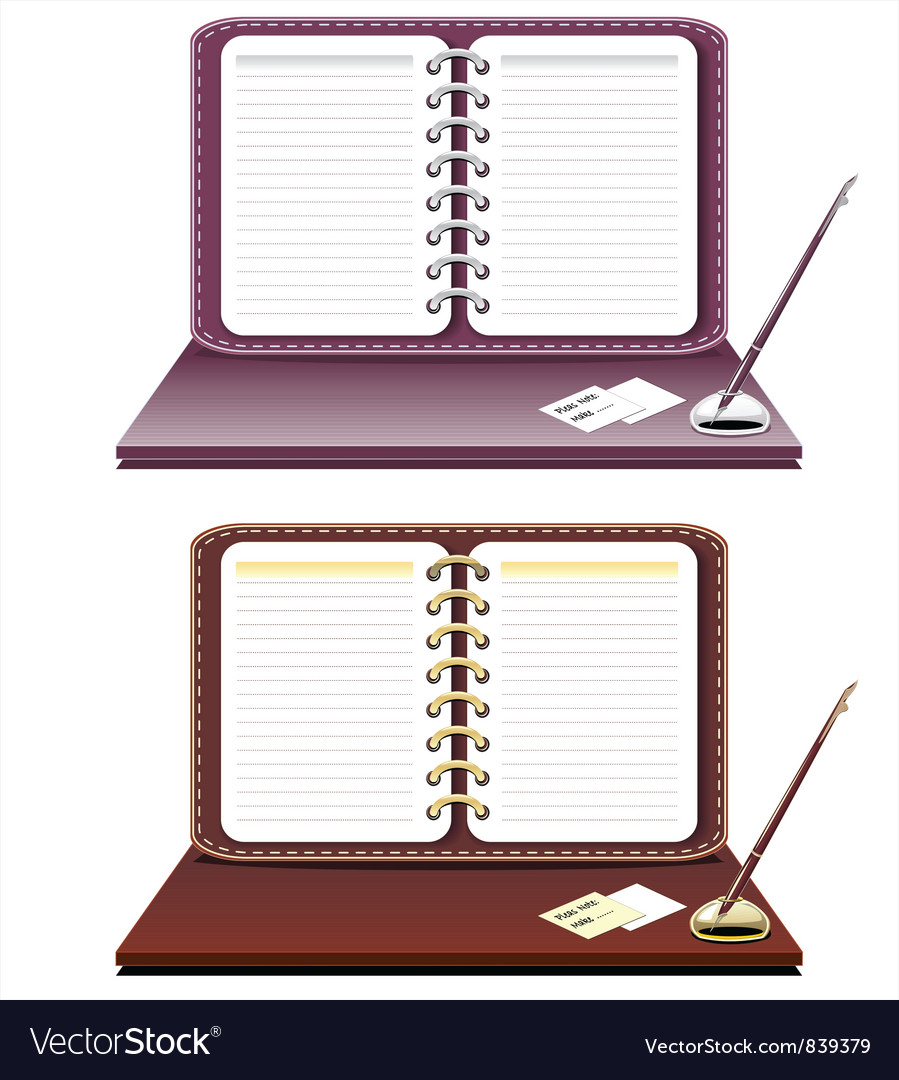 Notebook with pen isolated vector | Price: 3 Credit (USD $3)