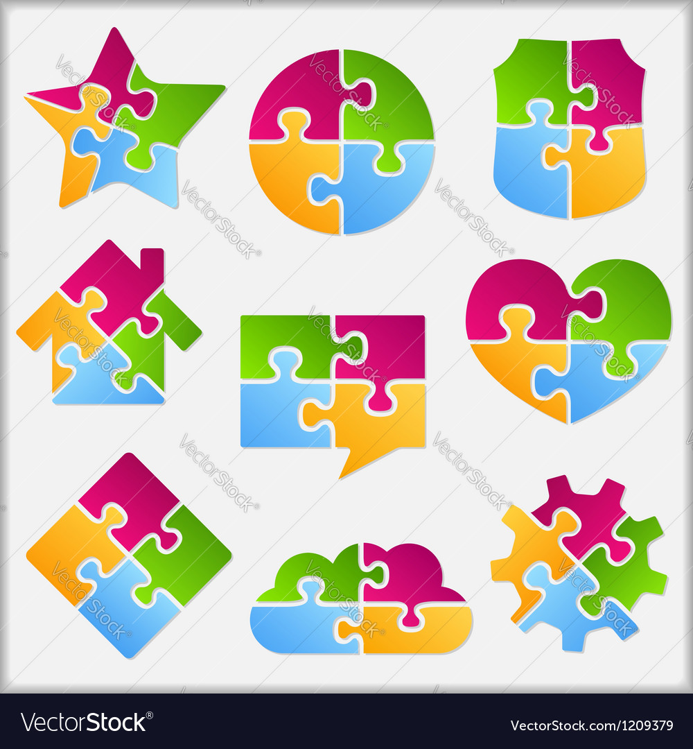 Puzzle objects collection vector | Price: 1 Credit (USD $1)