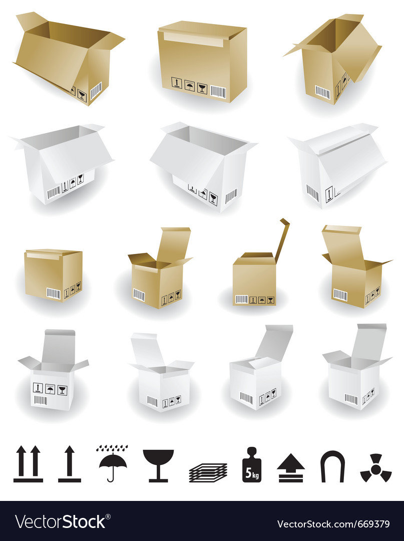 Shipping box and box icon and signs vector | Price: 1 Credit (USD $1)