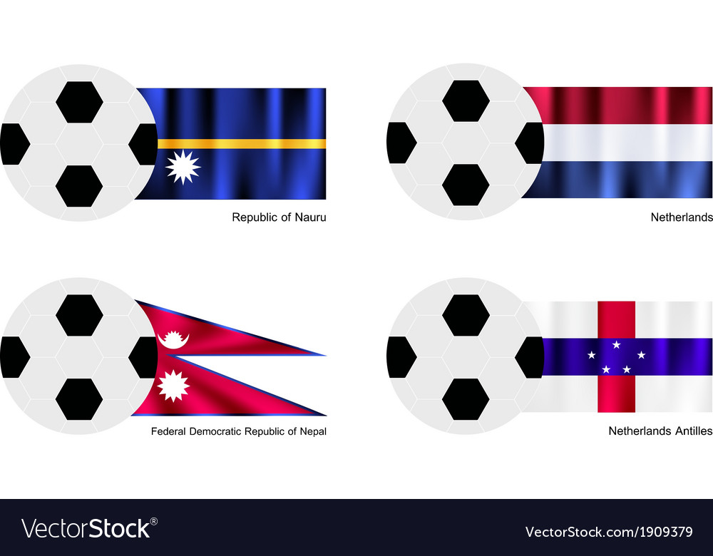 Soccer ball with nauru netherlands nepal flag vector | Price: 1 Credit (USD $1)