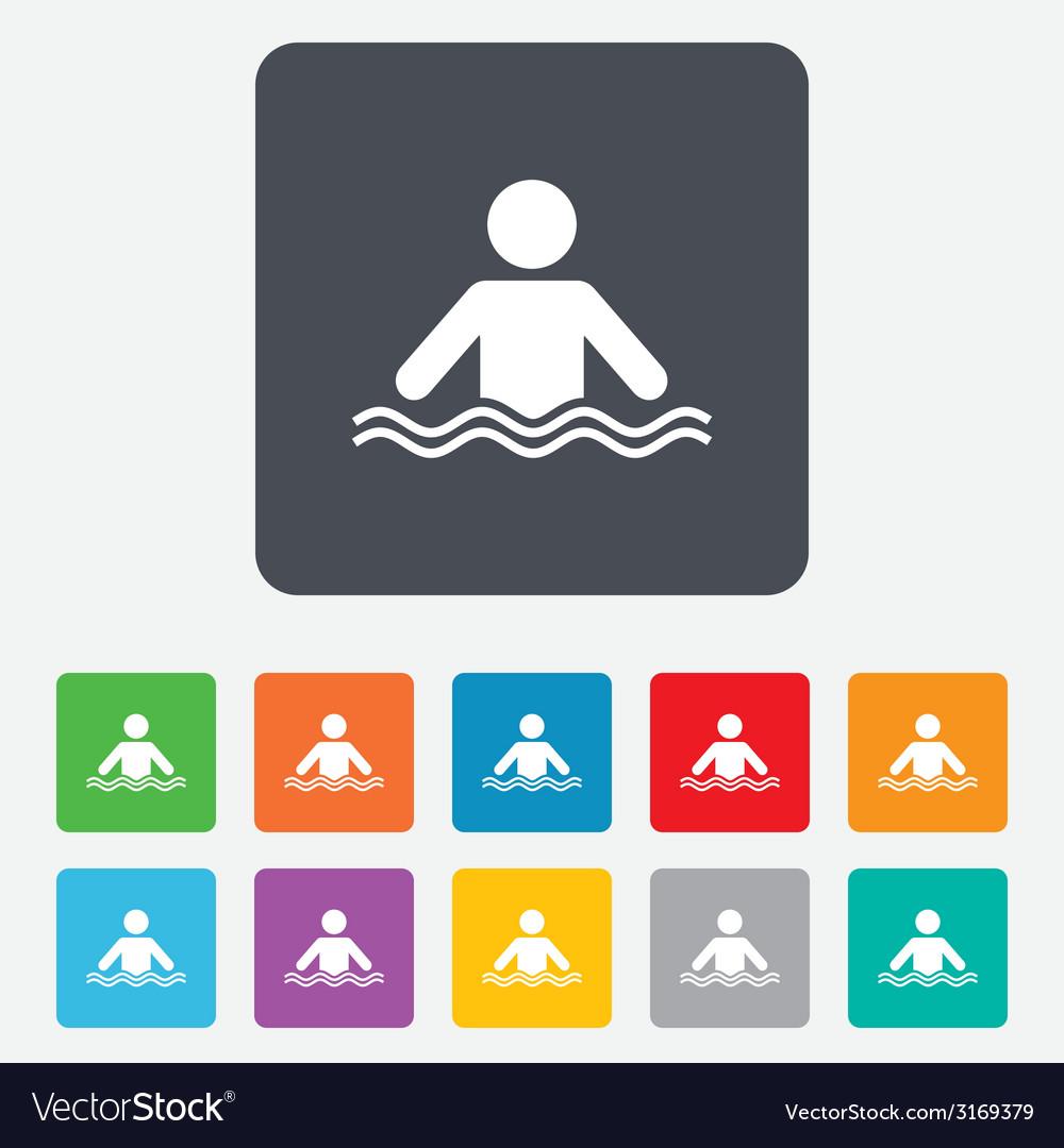 Swimming sign icon pool swim symbol vector   Price: 1 Credit (USD $1)