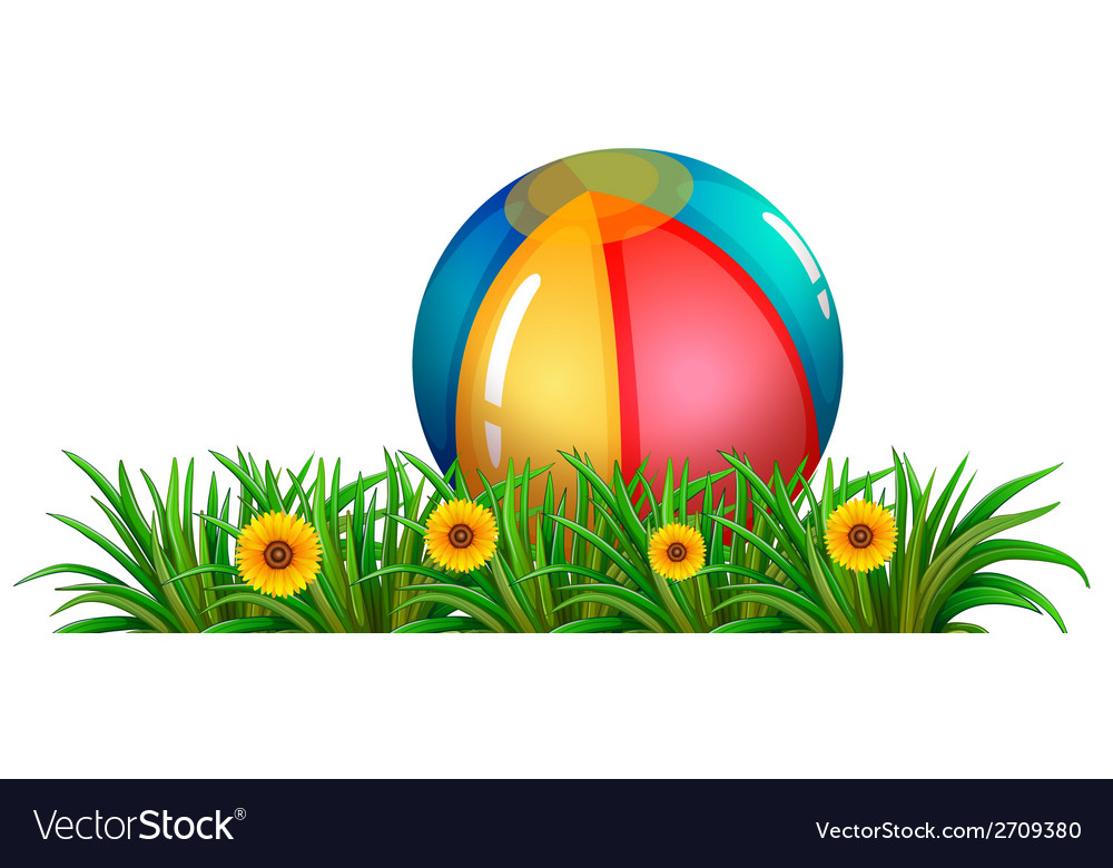 A ball near the green plants with flowers vector | Price: 1 Credit (USD $1)