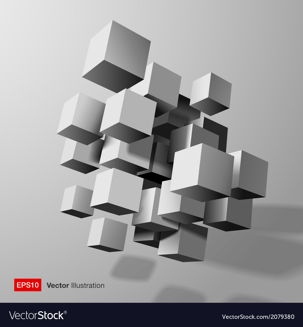 Abstract composition of white 3d cubes vector | Price: 1 Credit (USD $1)