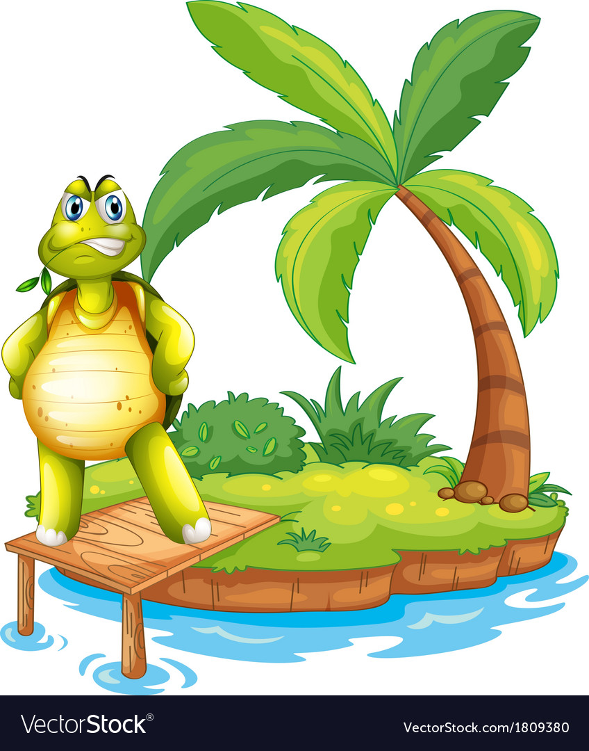 An island with a turtle standing above the wooden vector | Price: 1 Credit (USD $1)