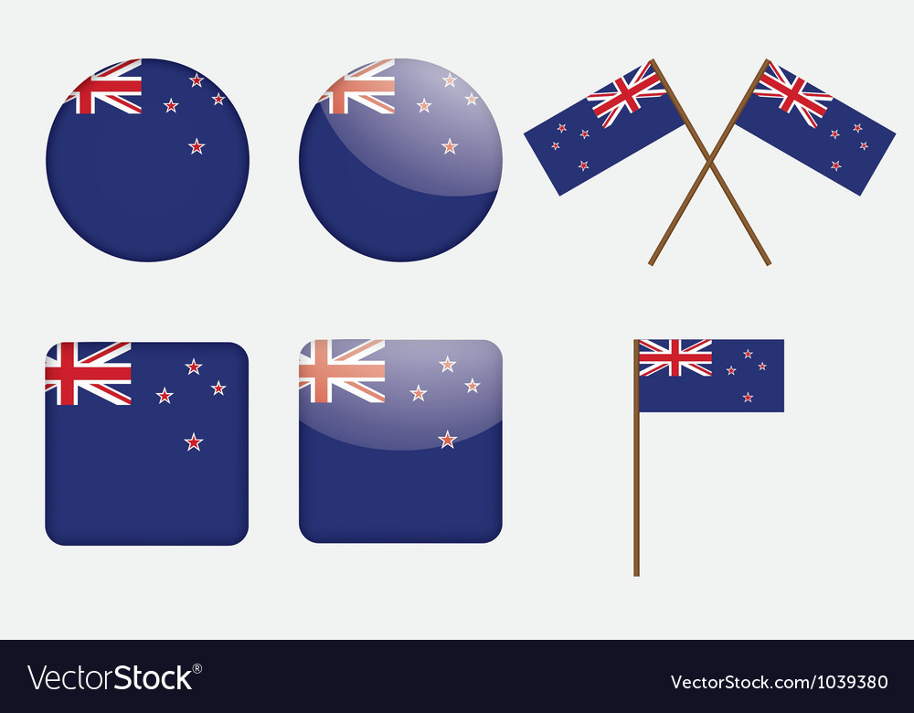Badges with flag of new zealand vector | Price: 1 Credit (USD $1)