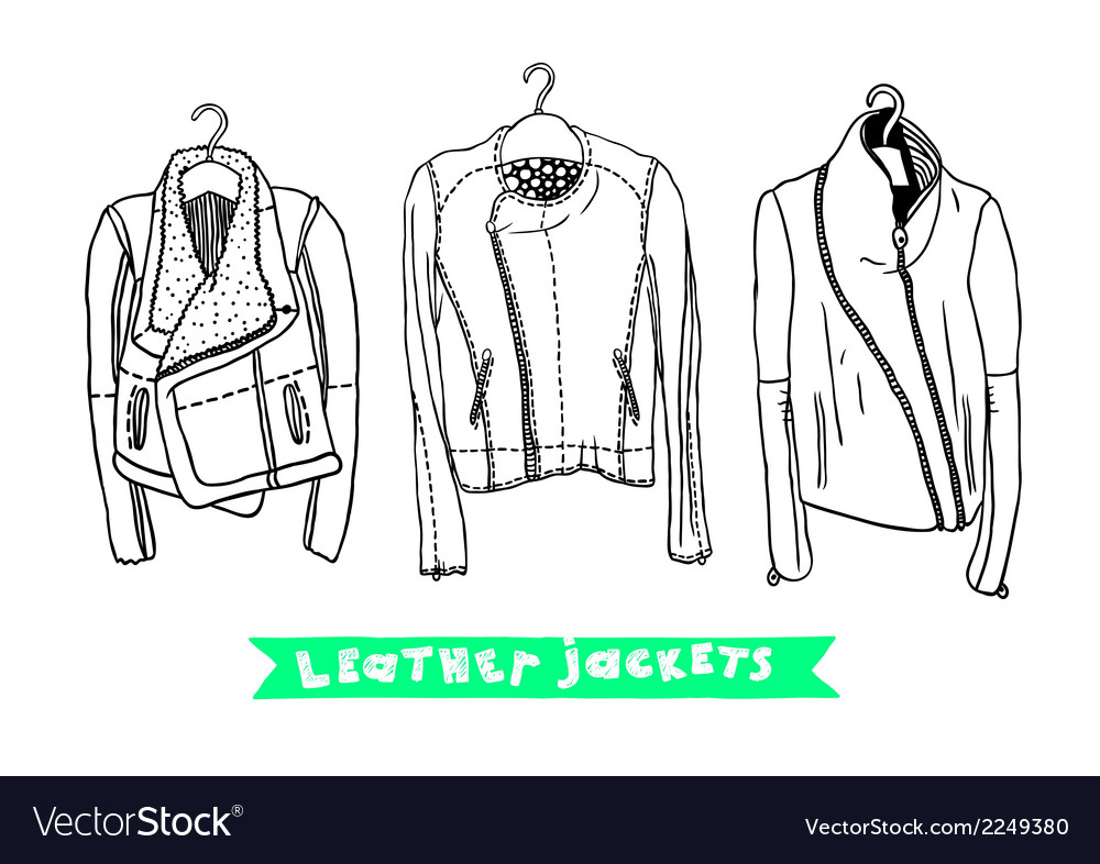 Black and white set with original leather jackets vector | Price: 1 Credit (USD $1)
