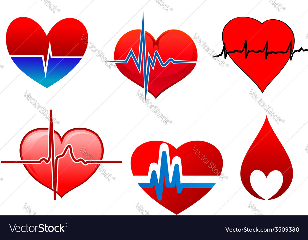 Cardigram on red hearts icons set vector | Price: 1 Credit (USD $1)