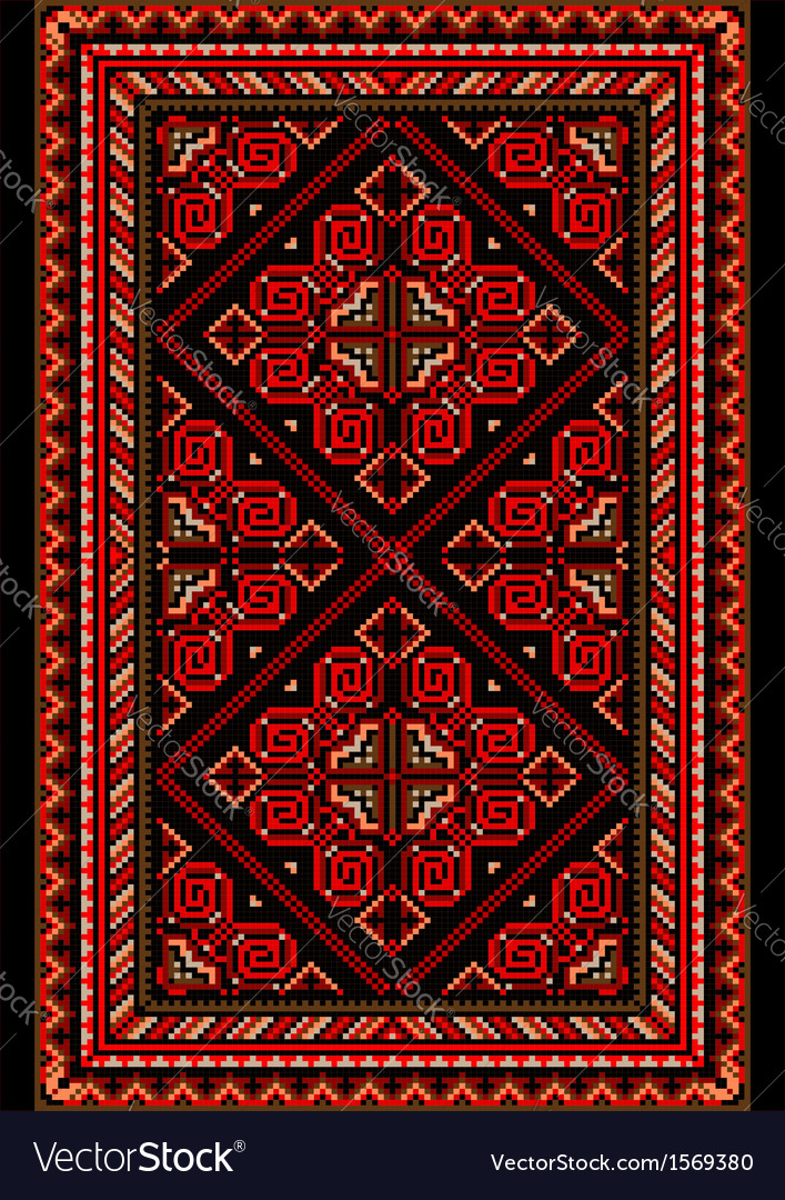 Carpet in the old style with red and burgundy shad vector | Price: 1 Credit (USD $1)