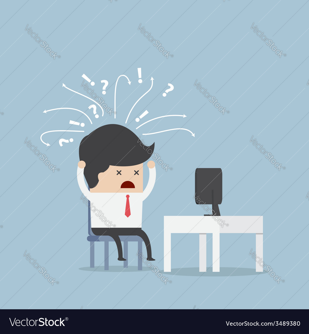 Confused businessman in front of computer vector | Price: 1 Credit (USD $1)