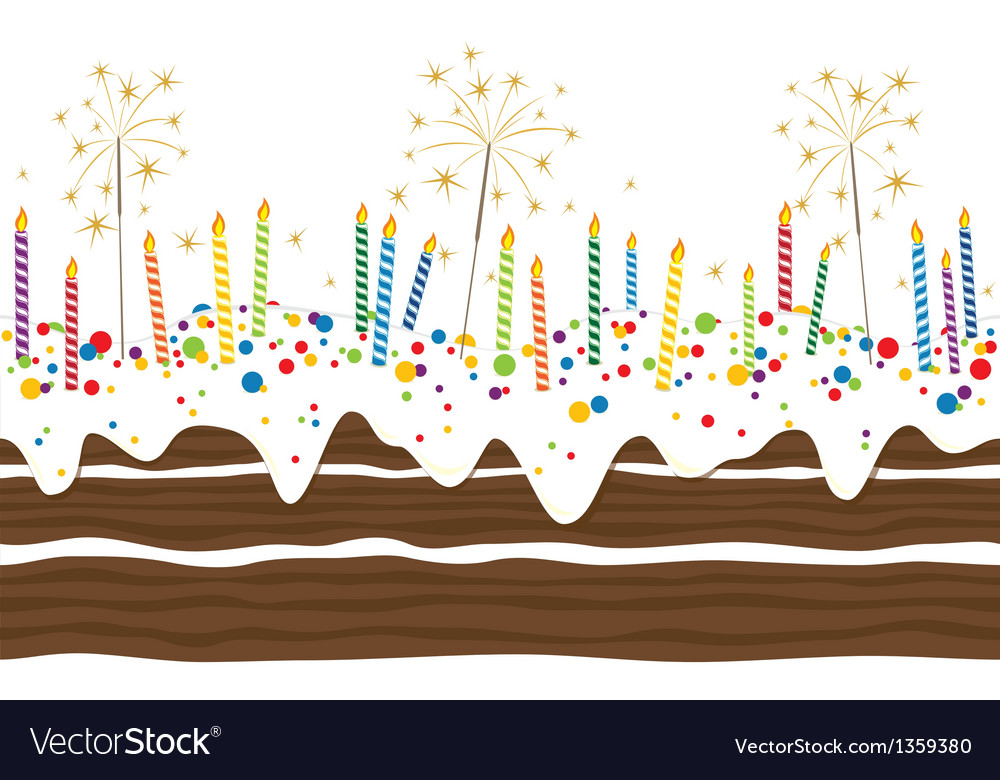 Happy birthday cake border seamless vector | Price: 1 Credit (USD $1)