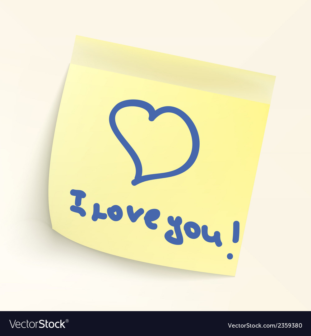 I love you paper note eps 8 vector | Price: 1 Credit (USD $1)