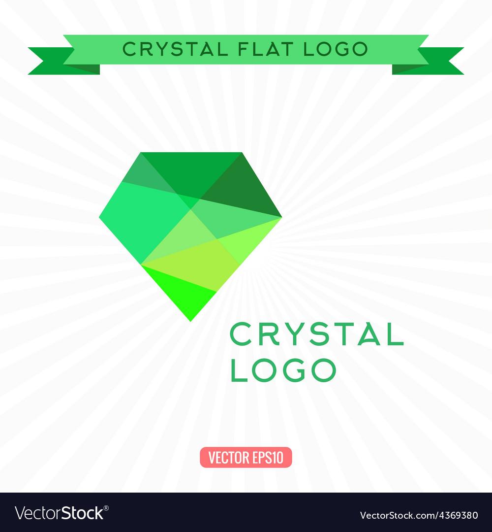 Logo green gem icon bright gemstone vector | Price: 1 Credit (USD $1)