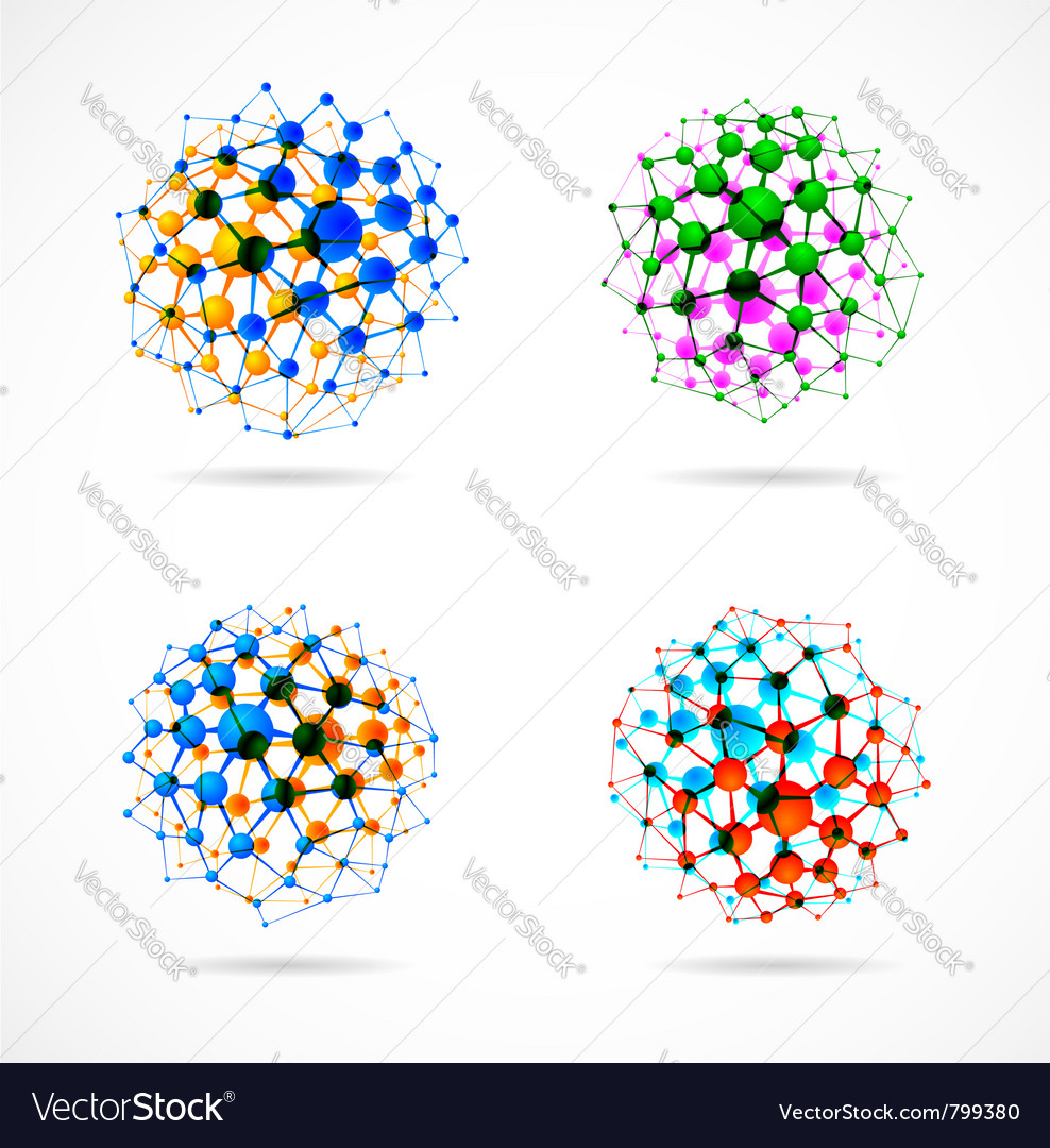 Molecular structures set vector | Price: 1 Credit (USD $1)