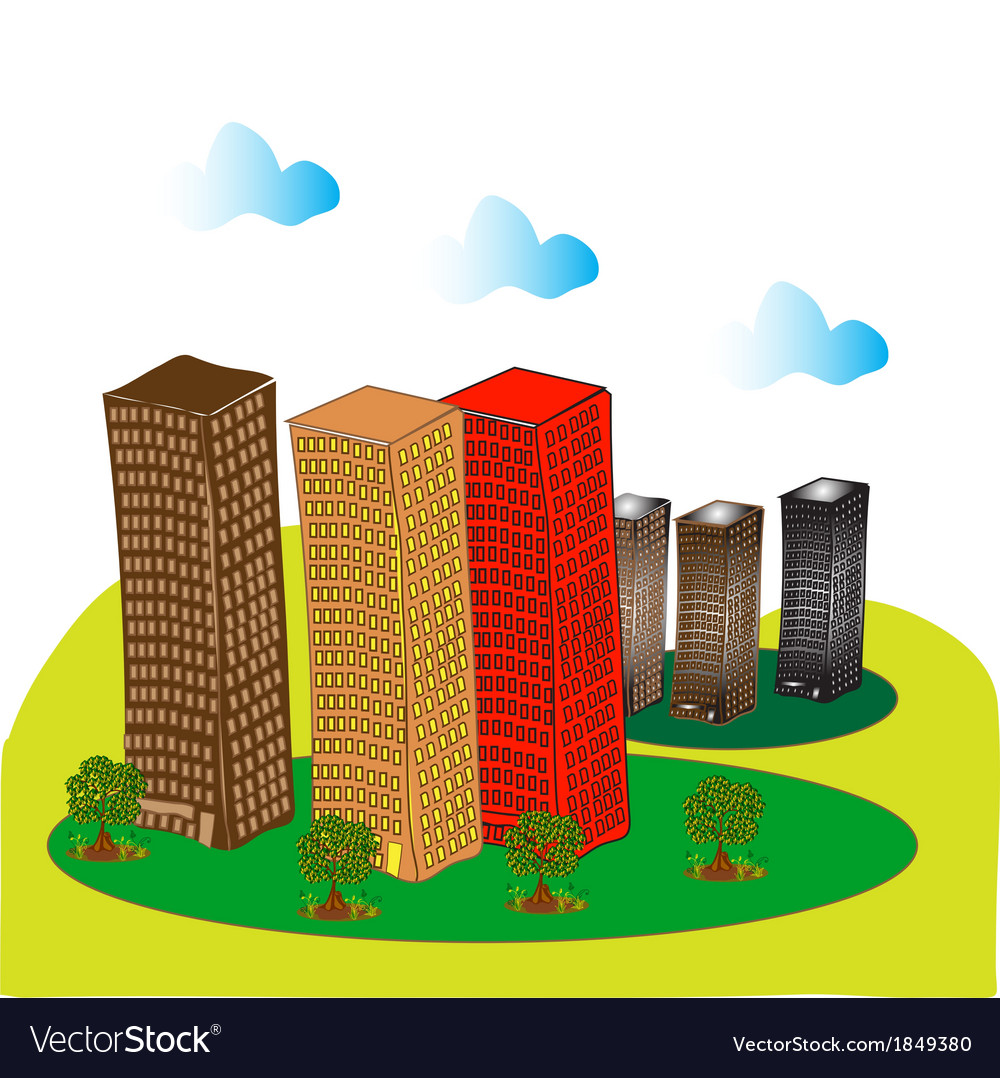 Multi storey buildings and trees 1 vector | Price: 1 Credit (USD $1)