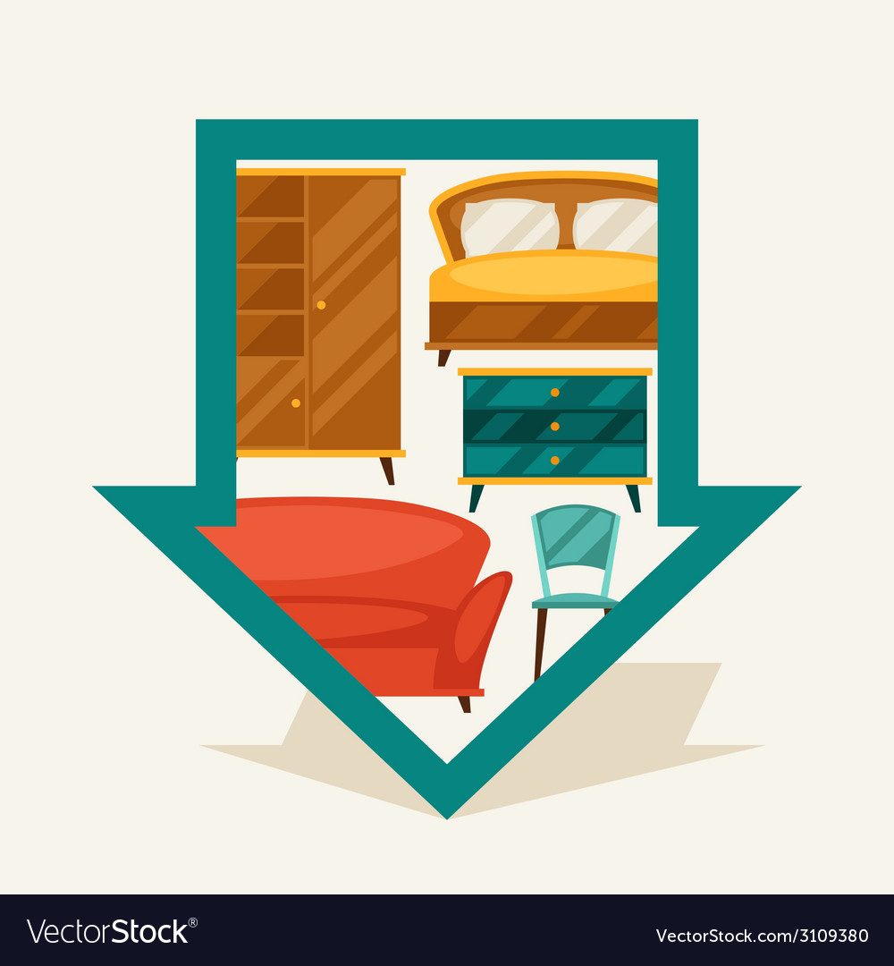 Navigation marker with furniture in retro style vector | Price: 1 Credit (USD $1)
