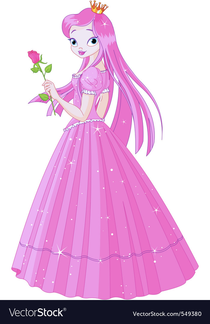 Illustration of beautiful pink princess with rose vector | Price: 3 Credit (USD $3)