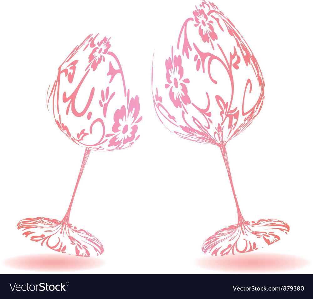 Pair of wine glasses vector | Price: 1 Credit (USD $1)