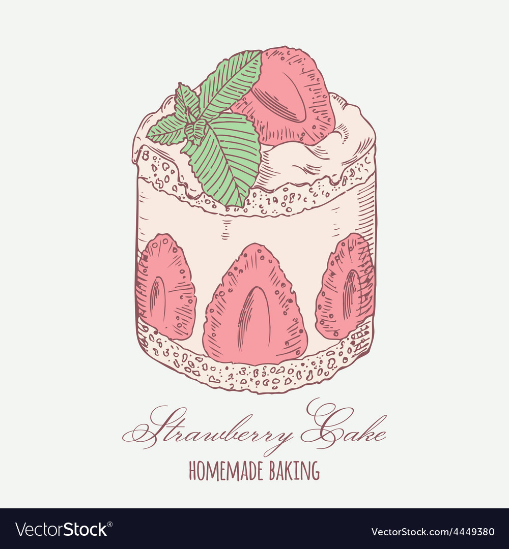 Strawberry cream cake with mint isolated vector | Price: 1 Credit (USD $1)