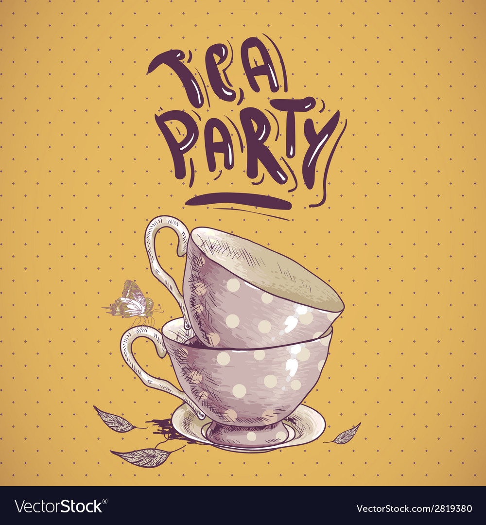 Tea party invitation card with a cups and pot vector   Price: 1 Credit (USD $1)