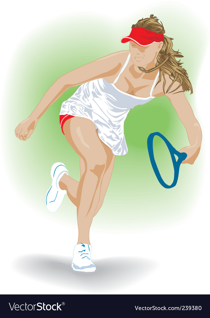 Tennis girl vector | Price: 3 Credit (USD $3)