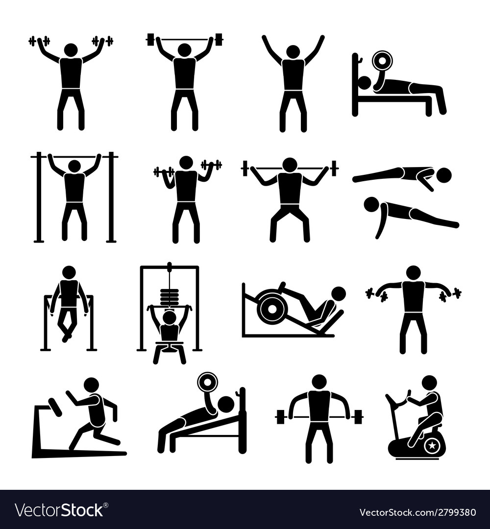 Workout training icons set vector | Price: 1 Credit (USD $1)