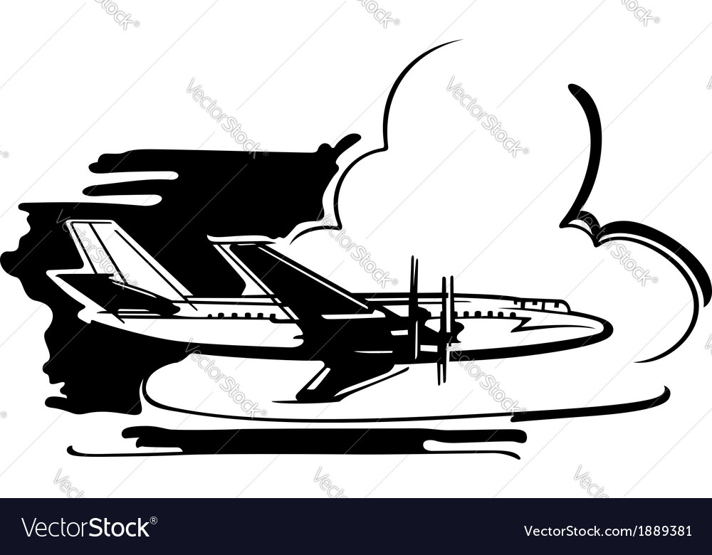 Airplane flying above clouds vector | Price: 1 Credit (USD $1)