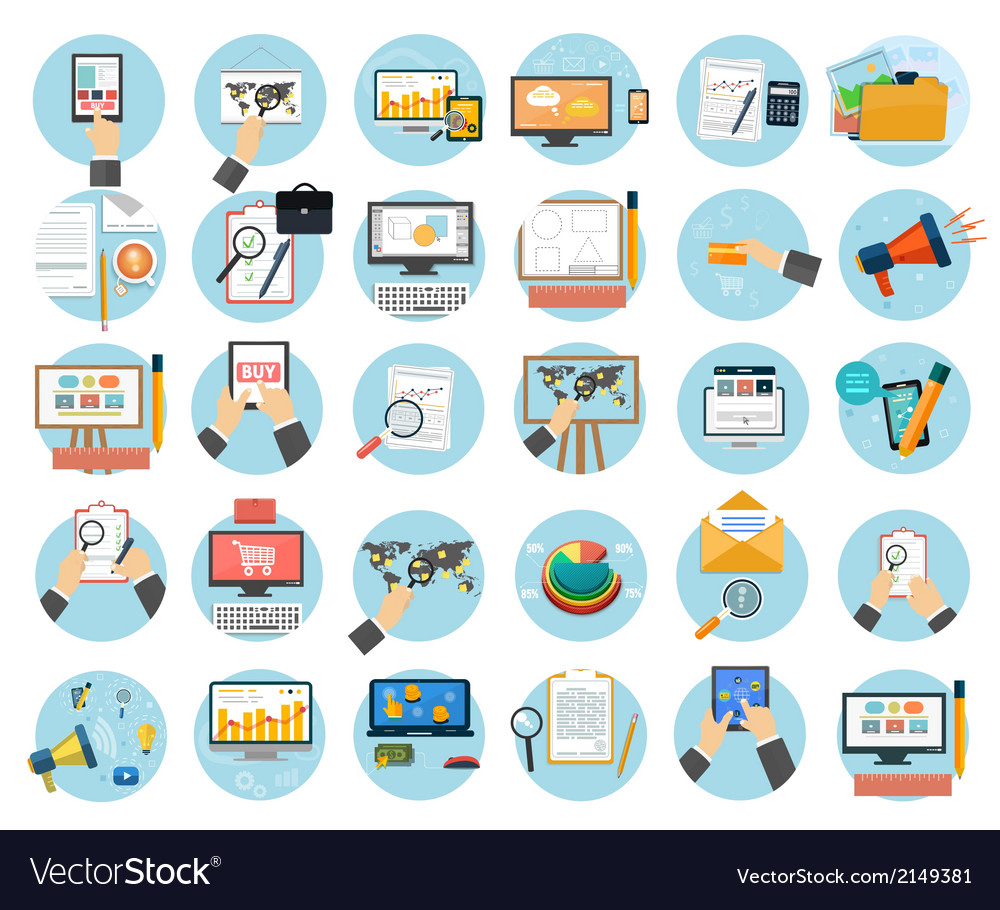 Business office and marketing items icons vector | Price: 1 Credit (USD $1)