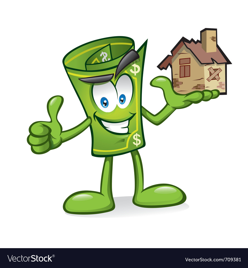 Cartoon money with damaged homes vector | Price: 3 Credit (USD $3)