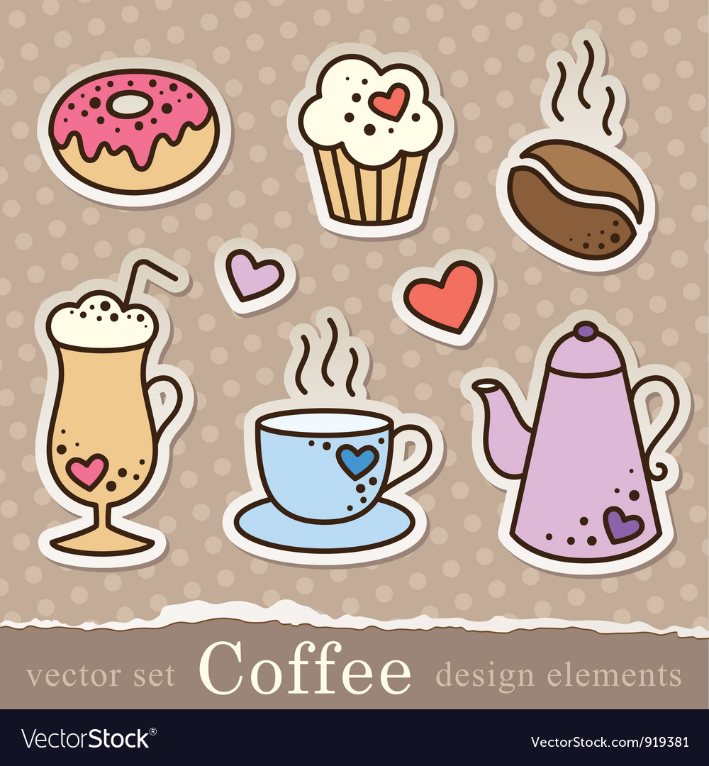 Coffee stickers vector | Price: 1 Credit (USD $1)