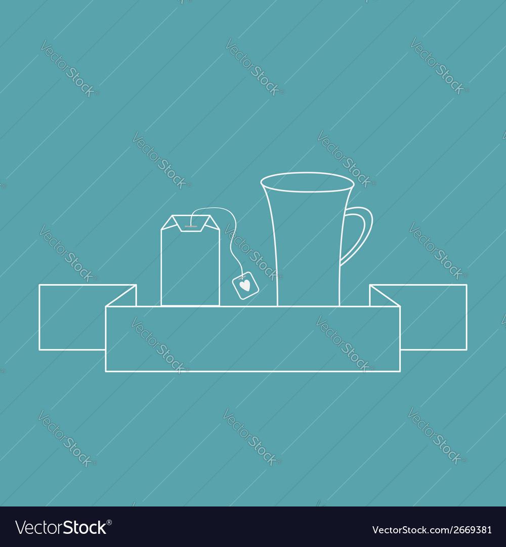 Contour teabag and teacup tea set in flat design vector | Price: 1 Credit (USD $1)