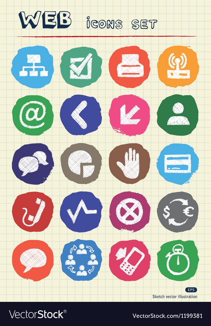 Finance and internet icons set drawn by chalk vector | Price: 1 Credit (USD $1)