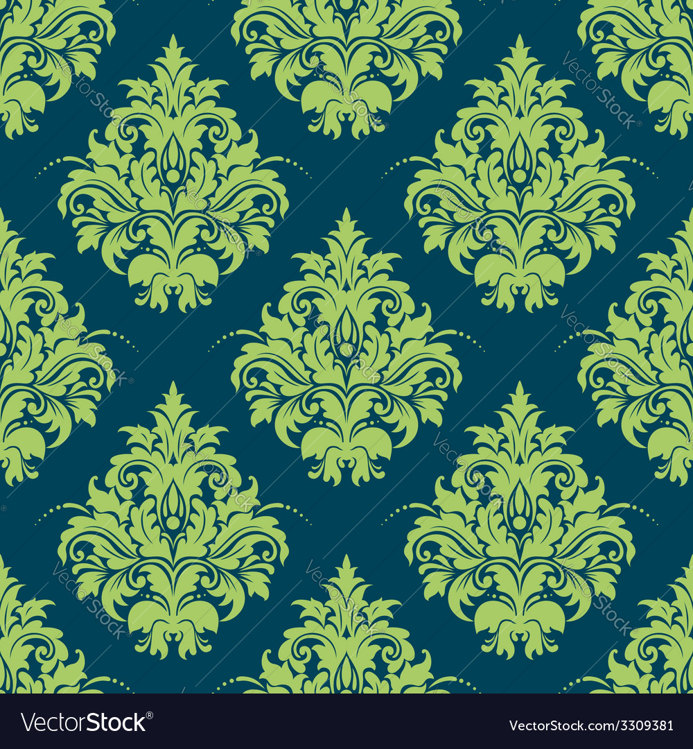 Green and blue damask style seamless pattern vector | Price: 1 Credit (USD $1)