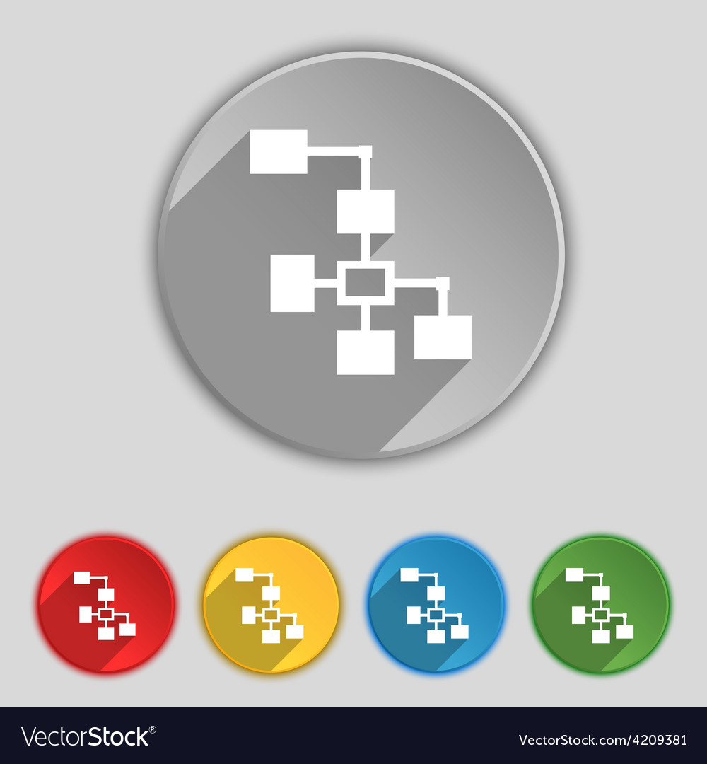 Local network icon sign symbol on five flat vector | Price: 1 Credit (USD $1)