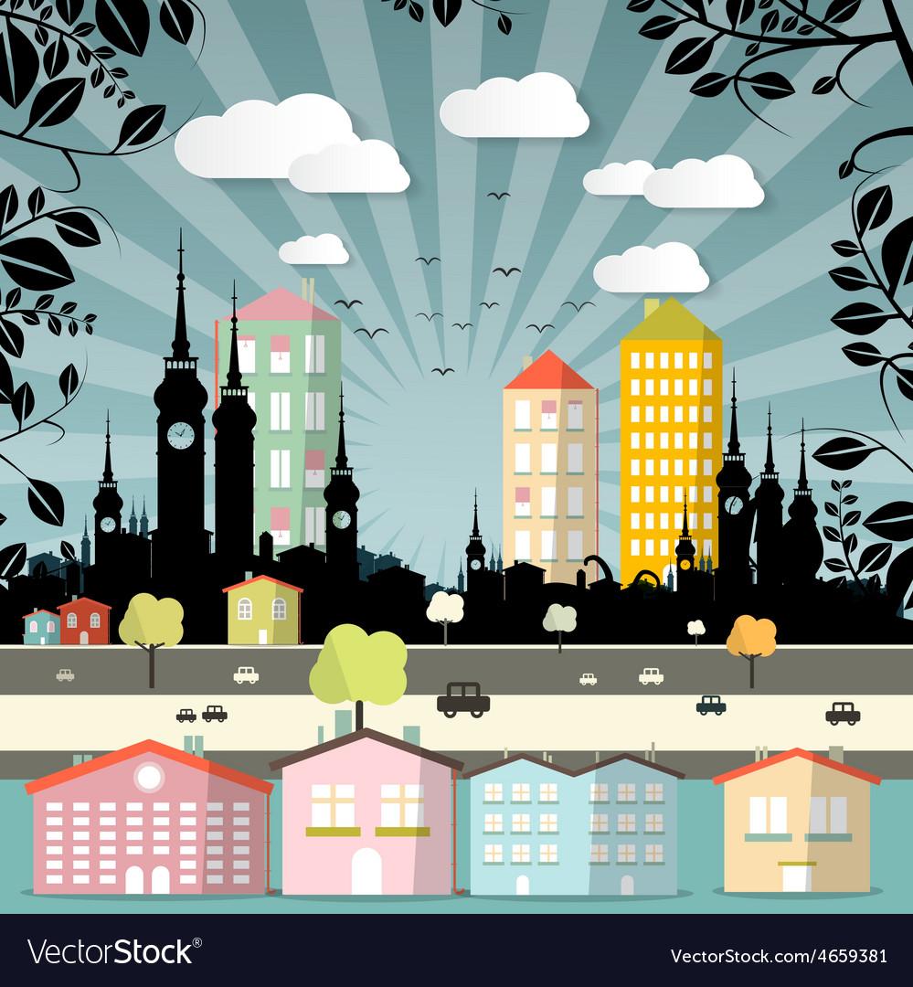 Retro flat design city vector | Price: 1 Credit (USD $1)