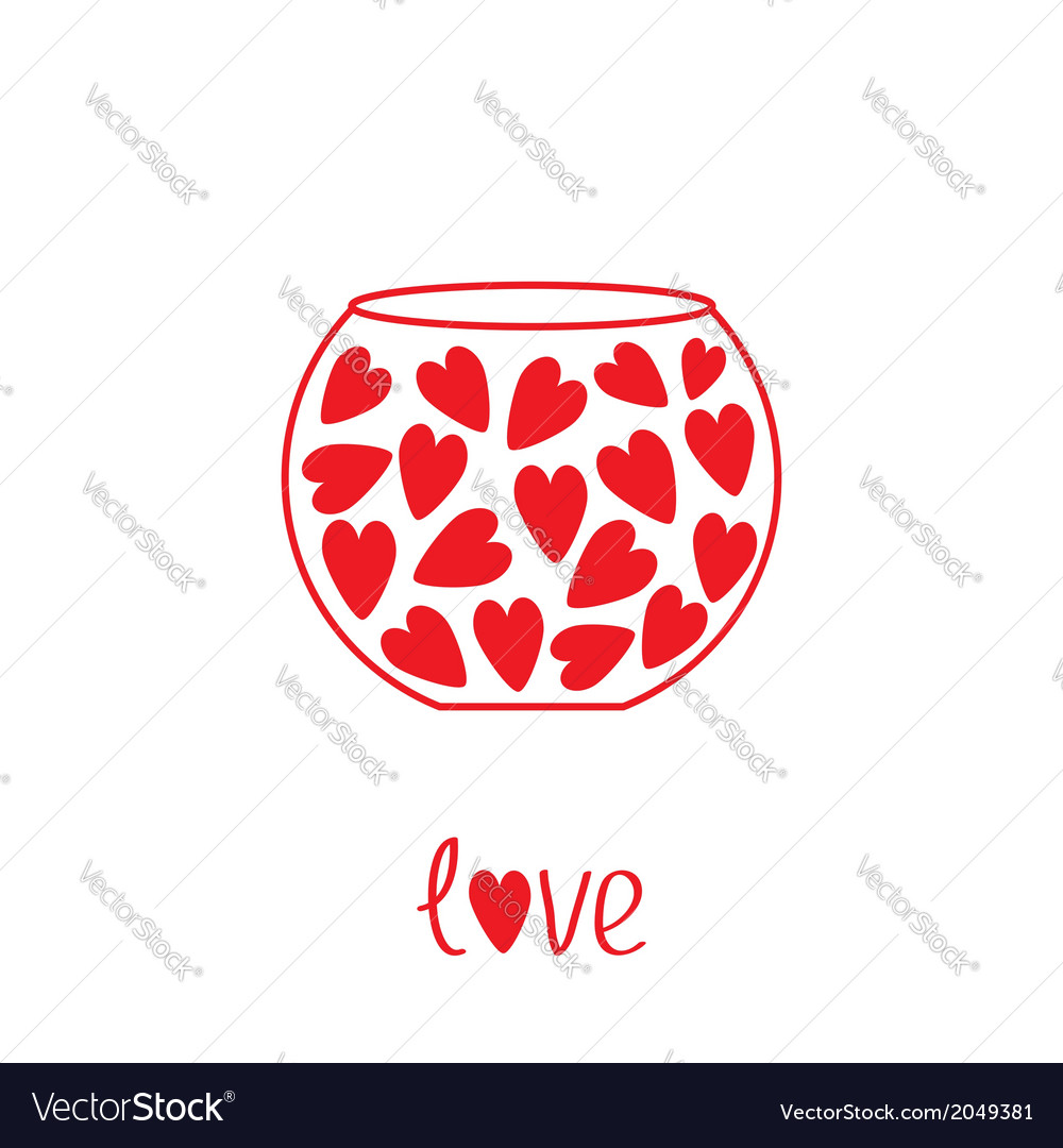 Round vase with hearts love card vector | Price: 1 Credit (USD $1)