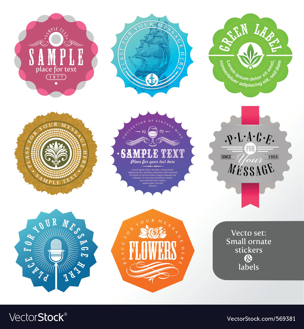 Set of small labels and stickers vector | Price: 1 Credit (USD $1)
