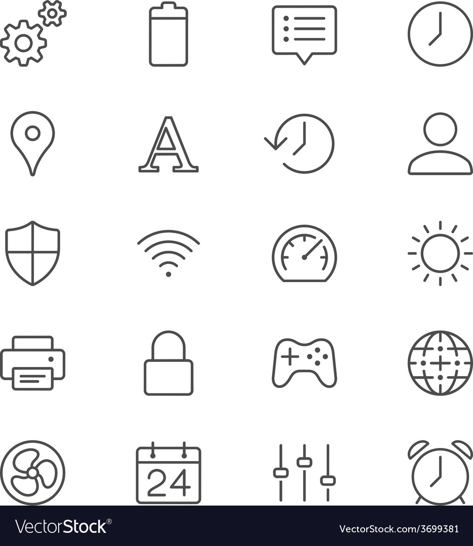 Setting thin icons vector | Price: 1 Credit (USD $1)