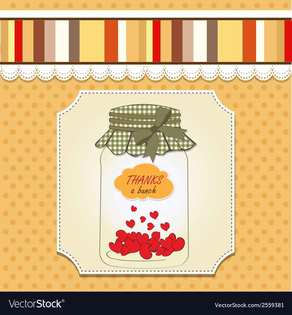 Thank you greeting card with hearts plugged into vector   Price: 1 Credit (USD $1)