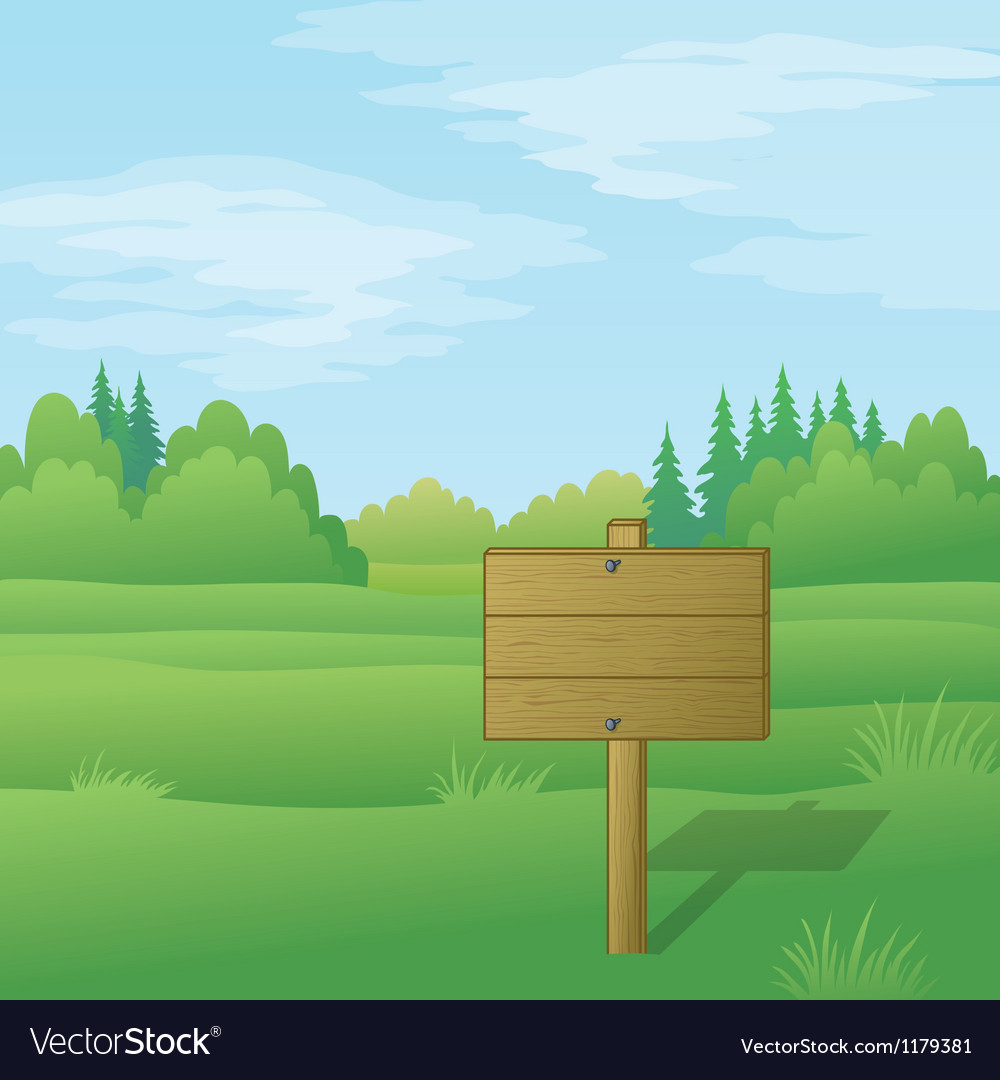 Wood sign on summer landscape vector | Price: 1 Credit (USD $1)