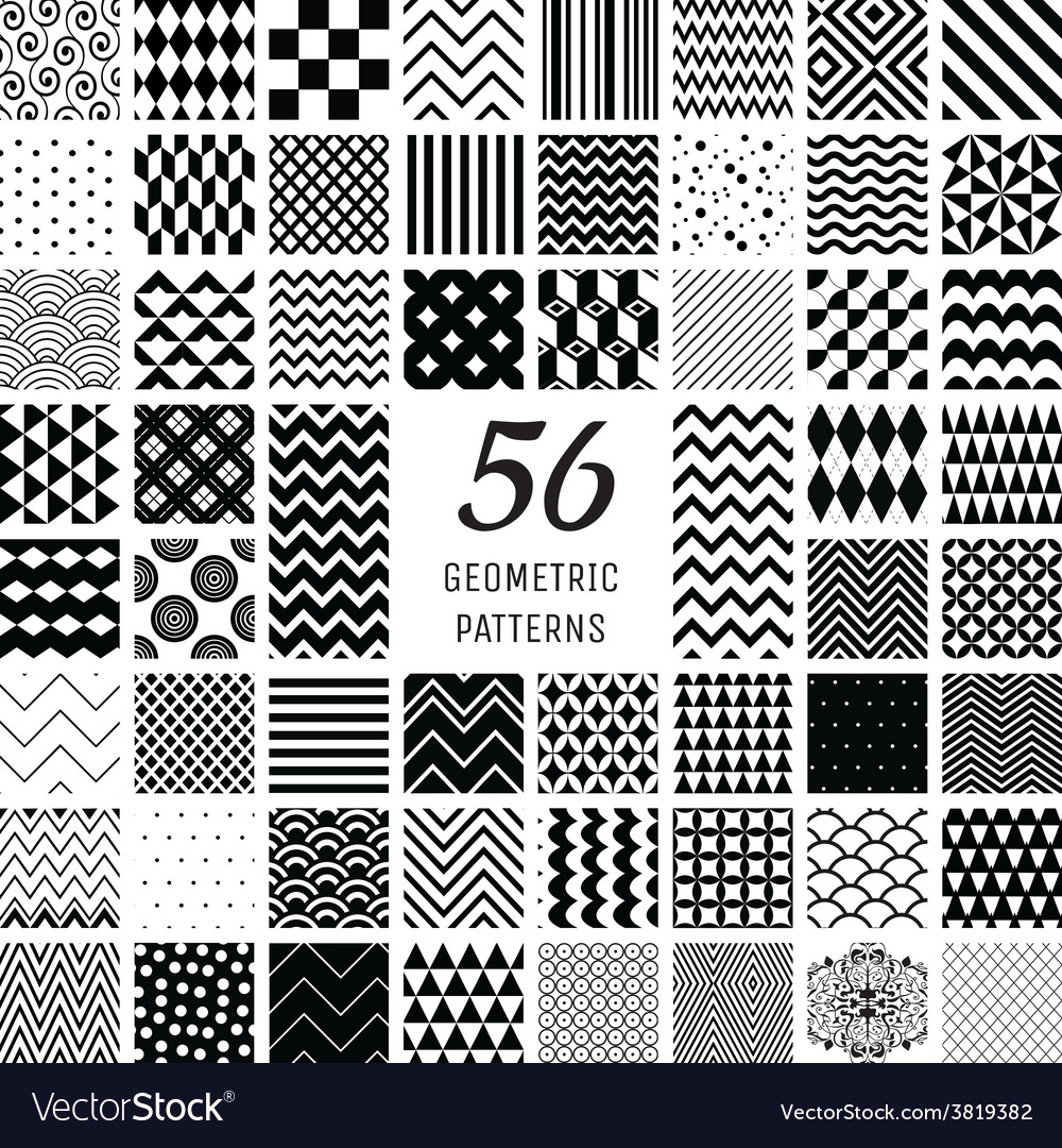 56 geometric seamless patterns vector