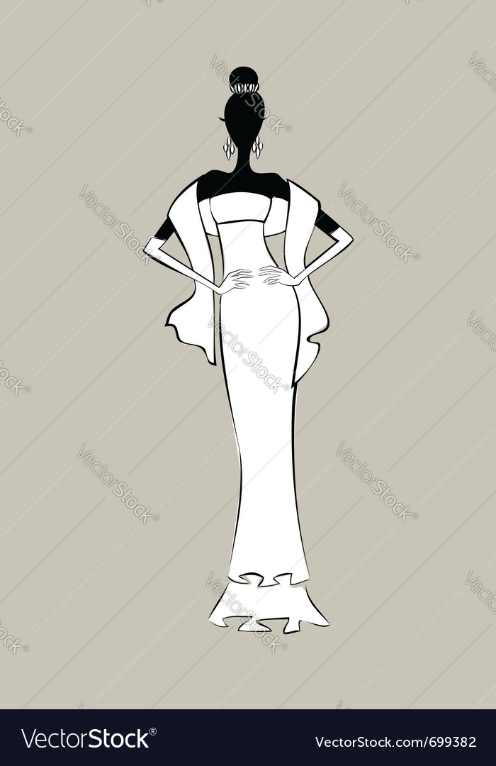 Bride fashion sketch vector | Price: 1 Credit (USD $1)