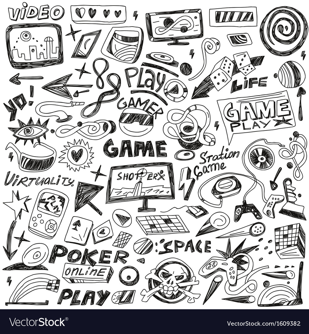Computers games - doodles set vector | Price: 1 Credit (USD $1)
