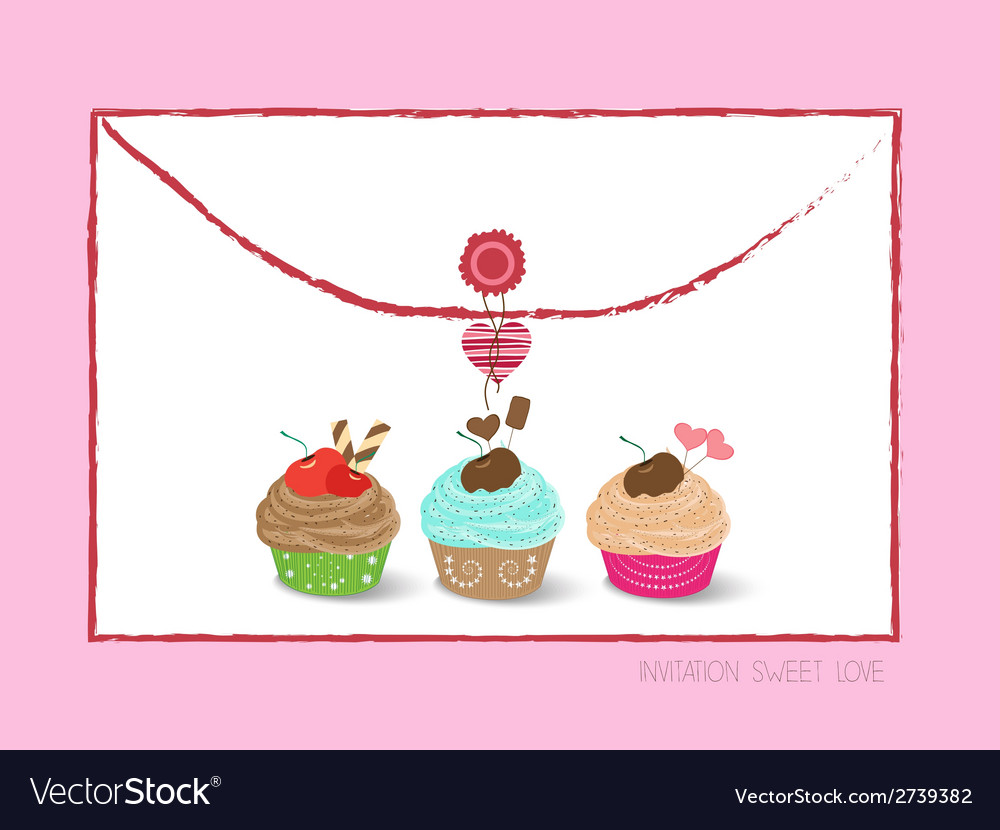 Envelope with cupcakes vector | Price: 1 Credit (USD $1)
