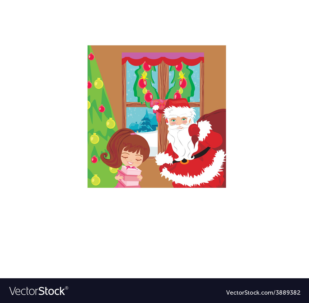 Happy little girl holding a gift from santa claus vector | Price: 1 Credit (USD $1)