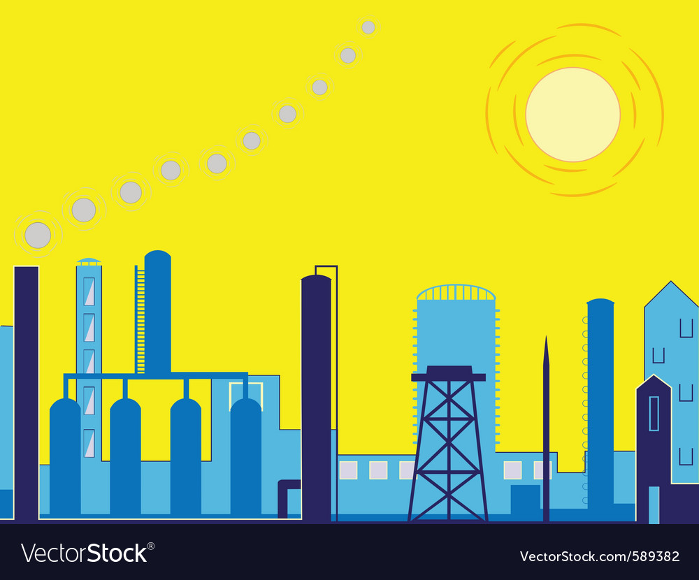 Industrial factory landscape vector | Price: 1 Credit (USD $1)