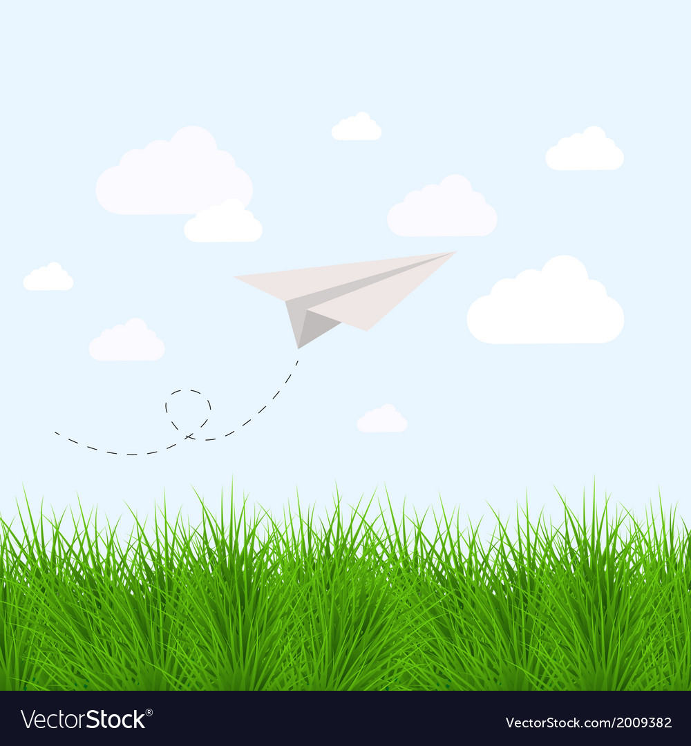 Modern grass with oragami airplane eps10 vector | Price: 1 Credit (USD $1)